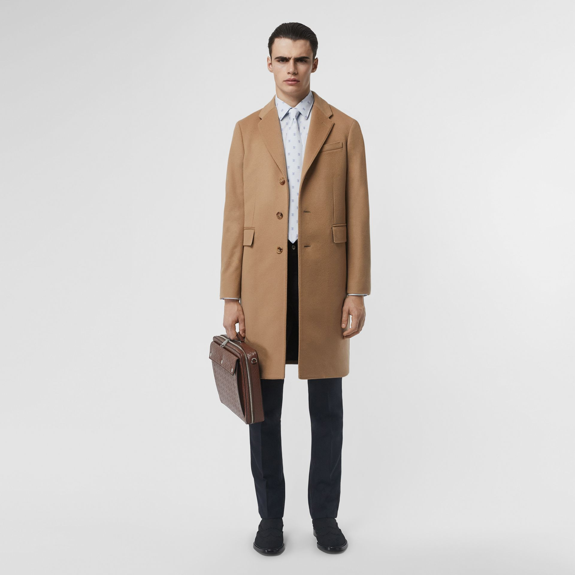 Wool Cashmere Tailored Coat in Camel - Men | Burberry Australia - gallery image 0