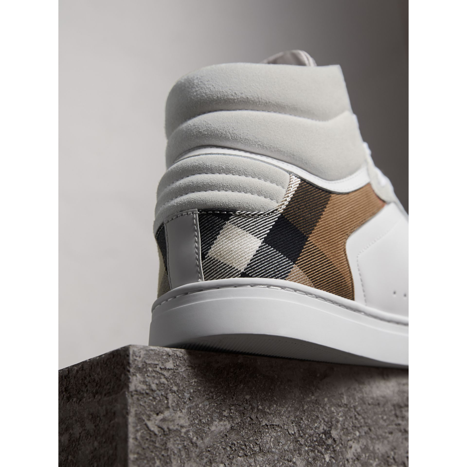 Leather and House Check High-top Trainers in Optic White - Men | Burberry Canada - gallery image 3