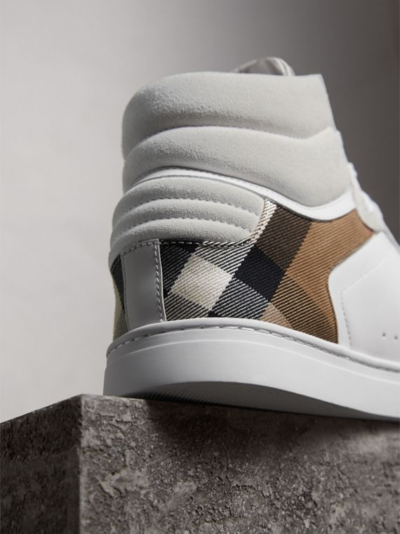 Leather and House Check High-top Sneakers in Optic White - Men | Burberry - cell image 3