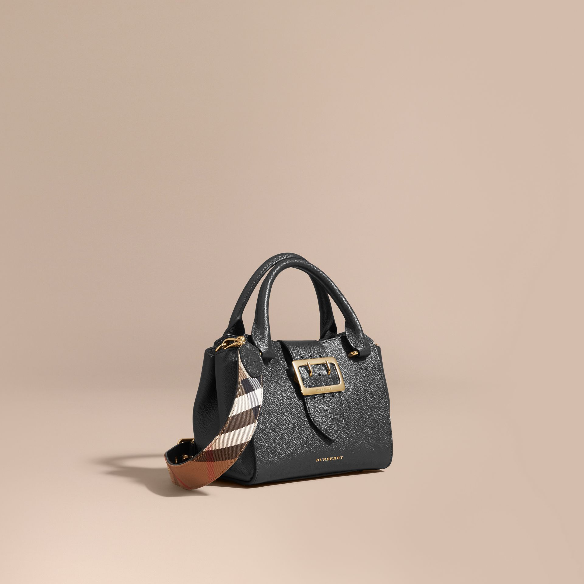 Black The Small Buckle Tote in Grainy Leather Black - gallery image 1