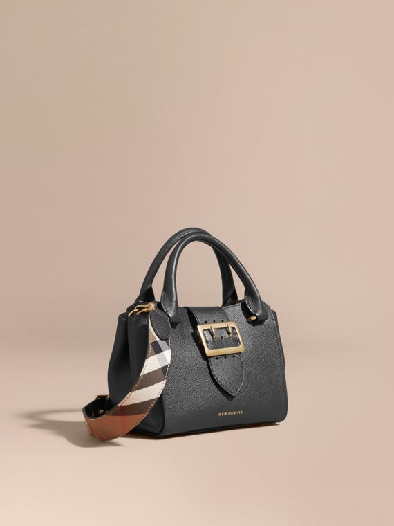 The Small Buckle Tote in Grainy Leather Black