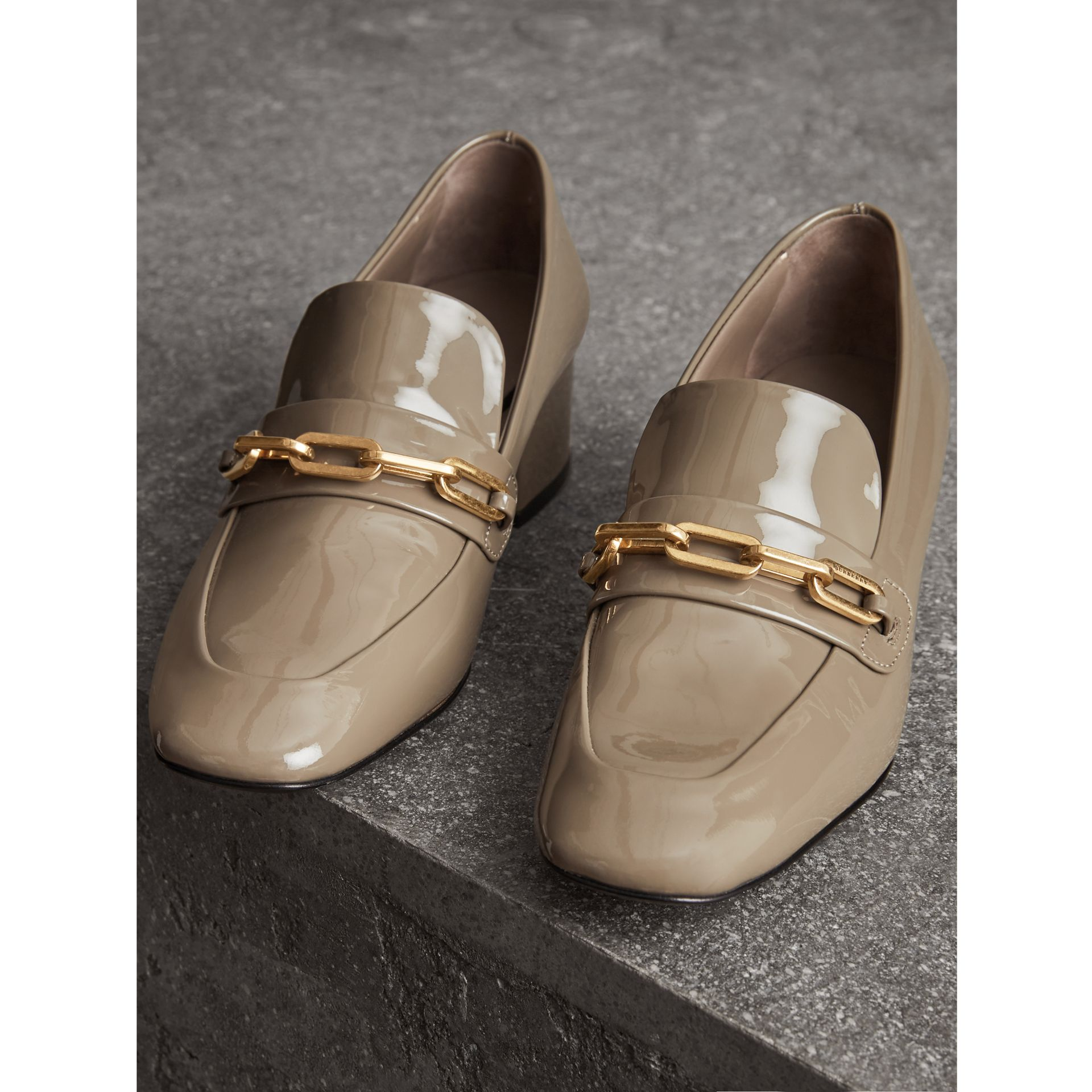 Link Detail Patent Leather Block-heel Loafers in Taupe Grey - Women | Burberry - gallery image 4