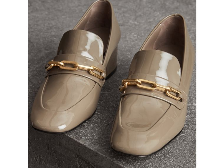 Link Detail Patent Leather Block-heel Loafers in Taupe Grey - Women | Burberry United Kingdom - cell image 4