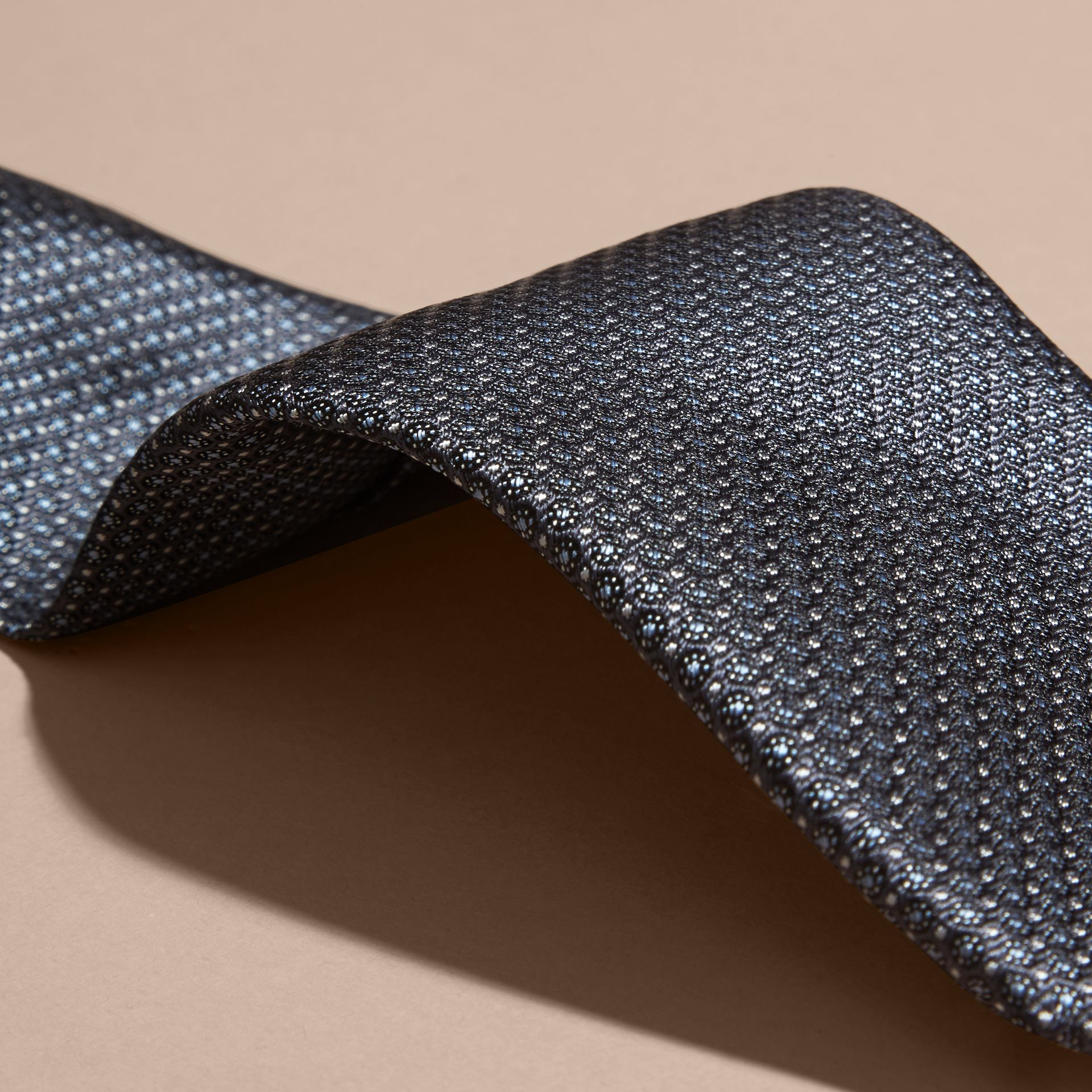 Mid grey Modern Cut Patterned Silk Tie Mid Grey - gallery image 2