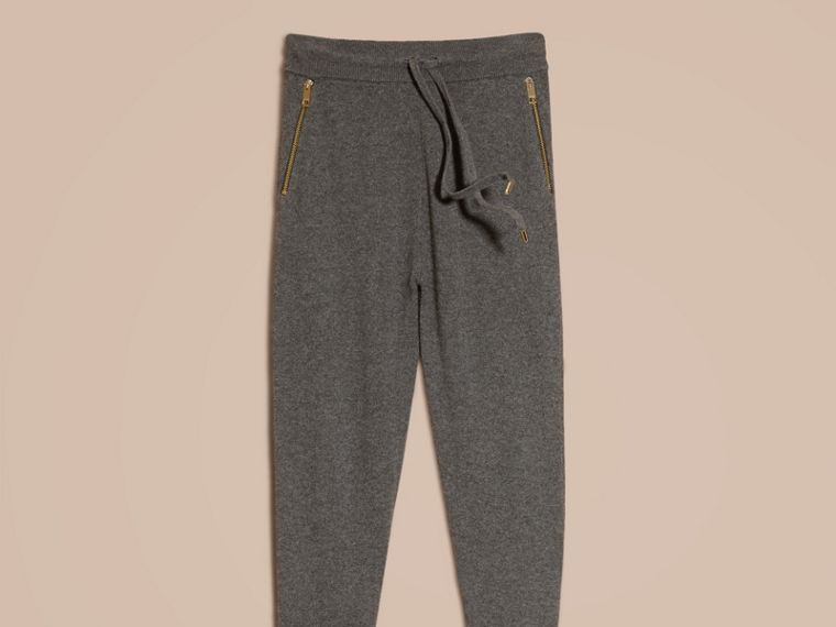Dark grey melange Knitted Cashmere Cotton Joggers - cell image 4