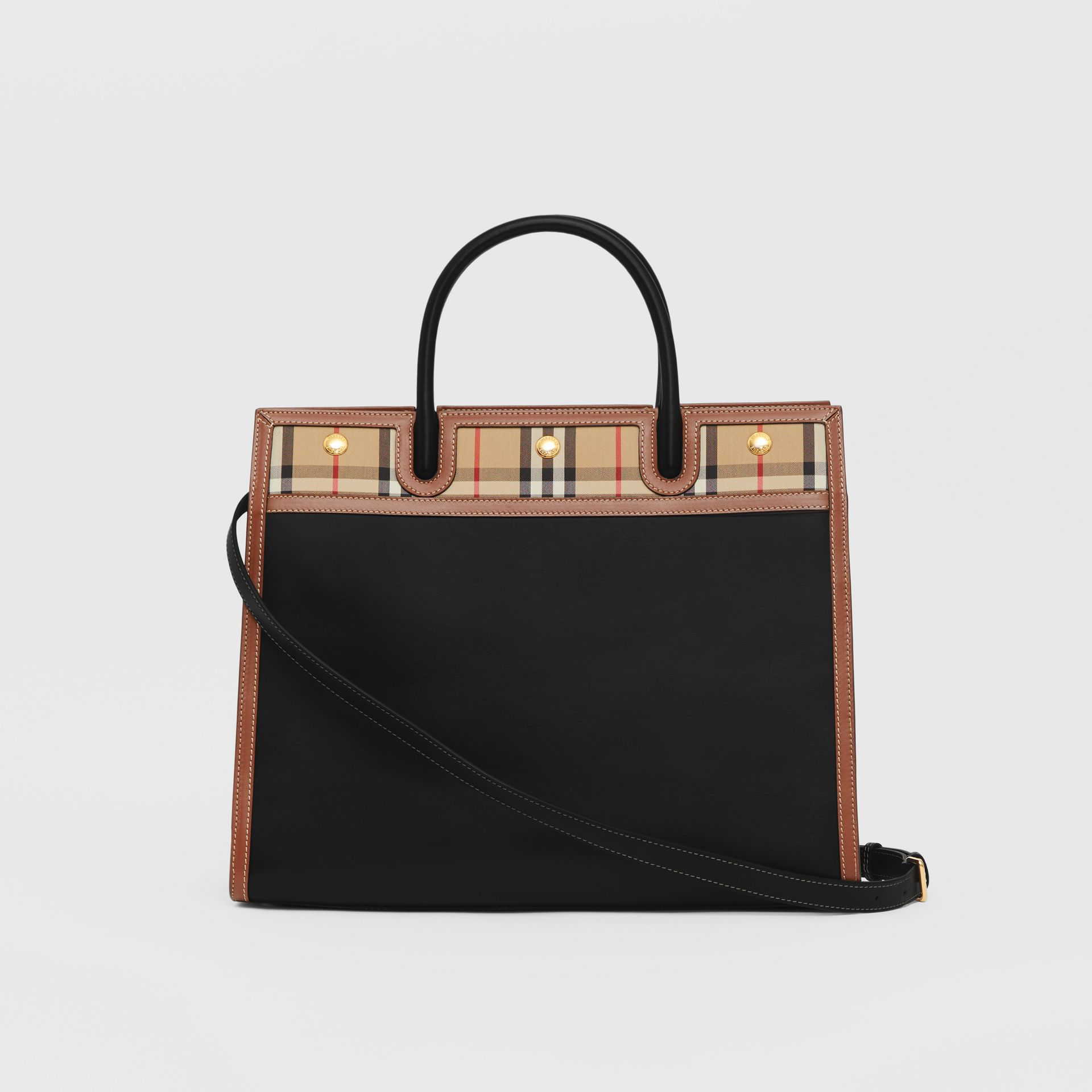 Medium Leather and Vintage Check Two-handle Title Bag in Black - Women | Burberry - gallery image 7