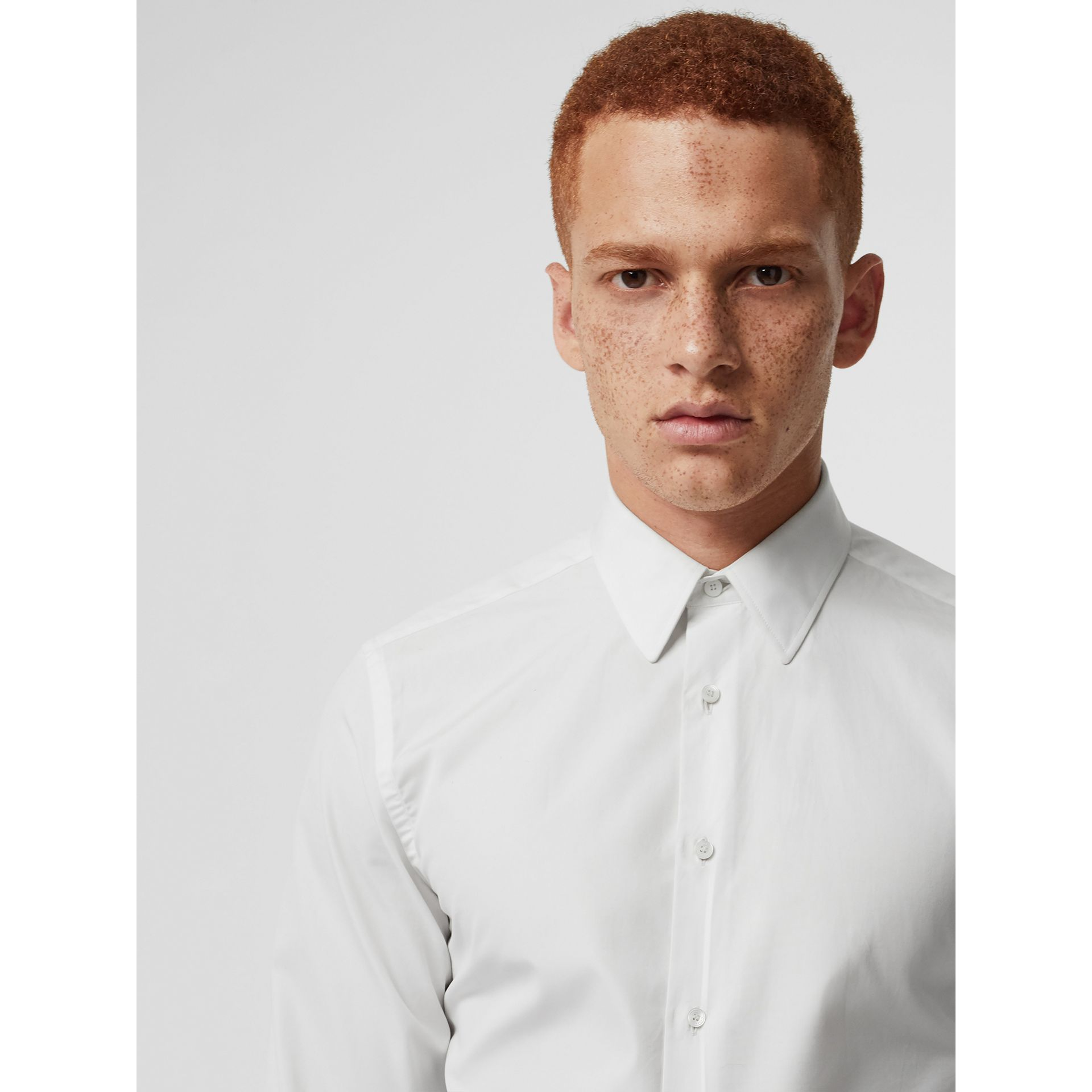 Slim Fit Cotton Poplin Shirt in White - Men | Burberry Australia - gallery image 1