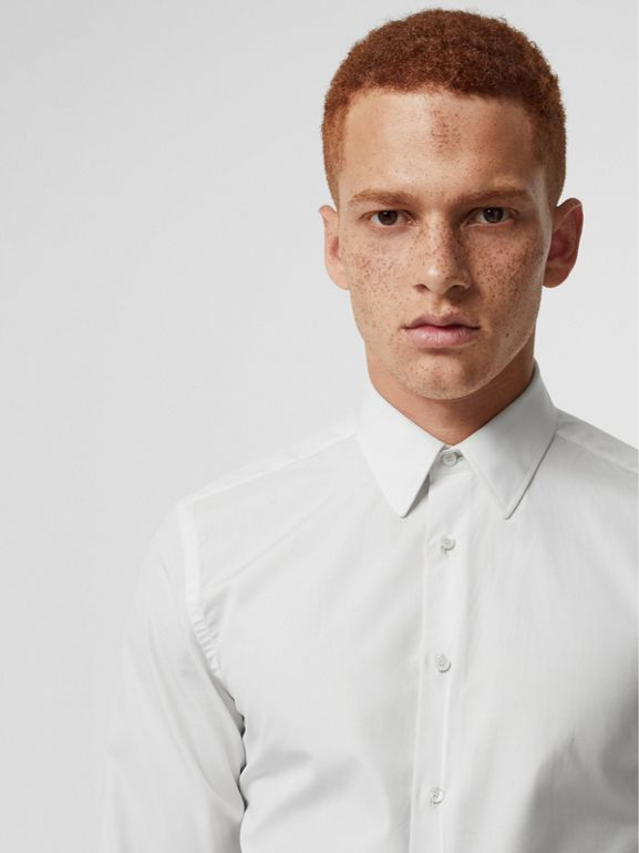Slim Fit Cotton Poplin Shirt in White - Men | Burberry Australia - cell image 1