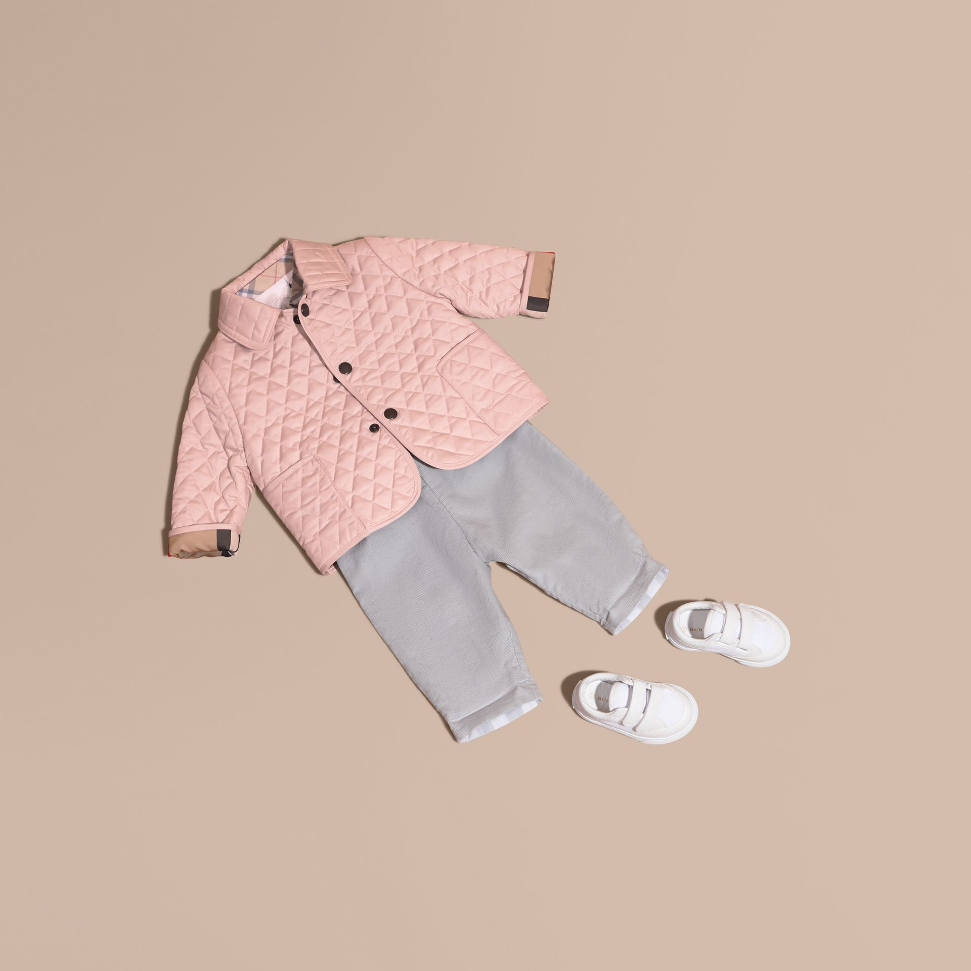 Powder pink Check Detail Diamond Quilted Jacket Powder Pink - gallery image 1
