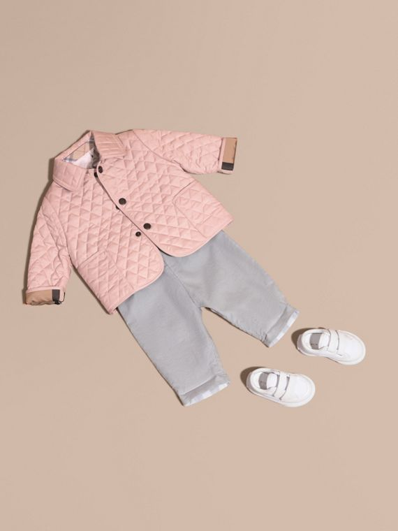 Check Detail Diamond Quilted Jacket in Powder Pink