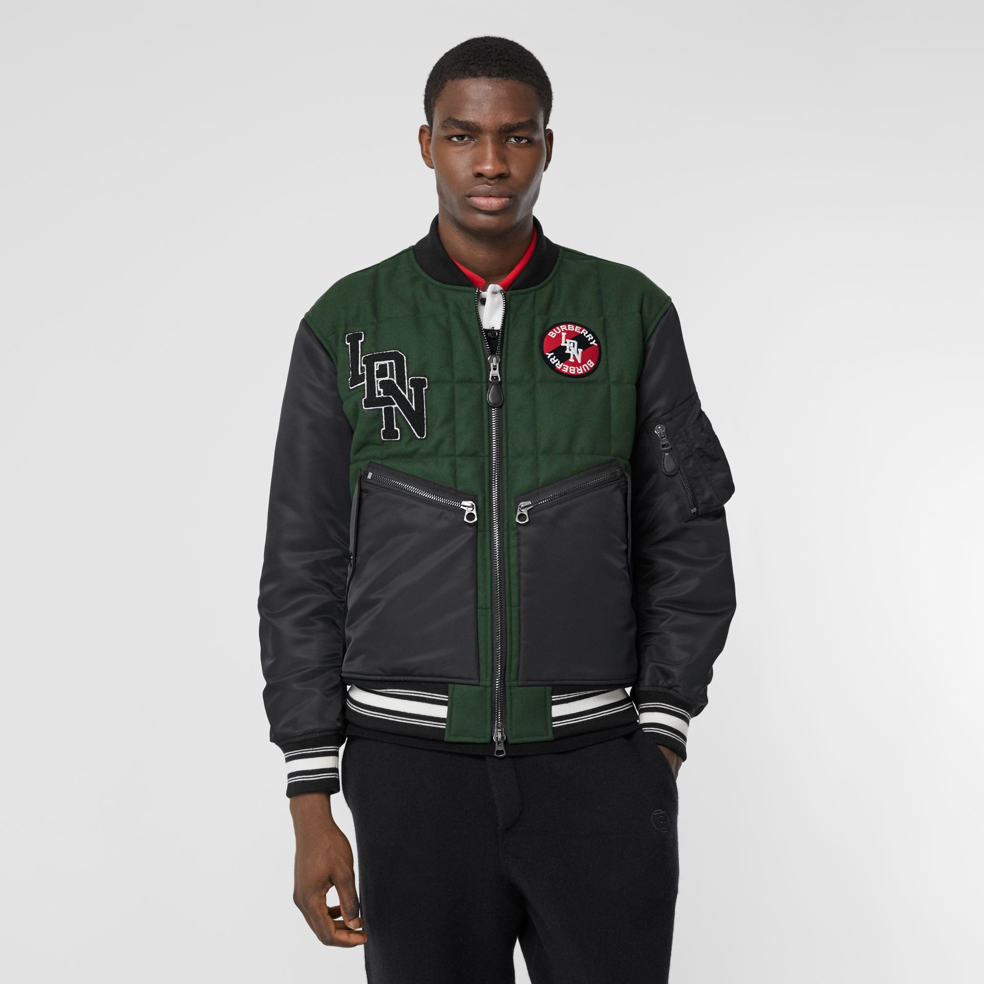 Contrast Sleeve Logo Graphic Wool Bomber Jacket in Dark Pine Green - Men | Burberry Hong Kong S.A.R - gallery image 5