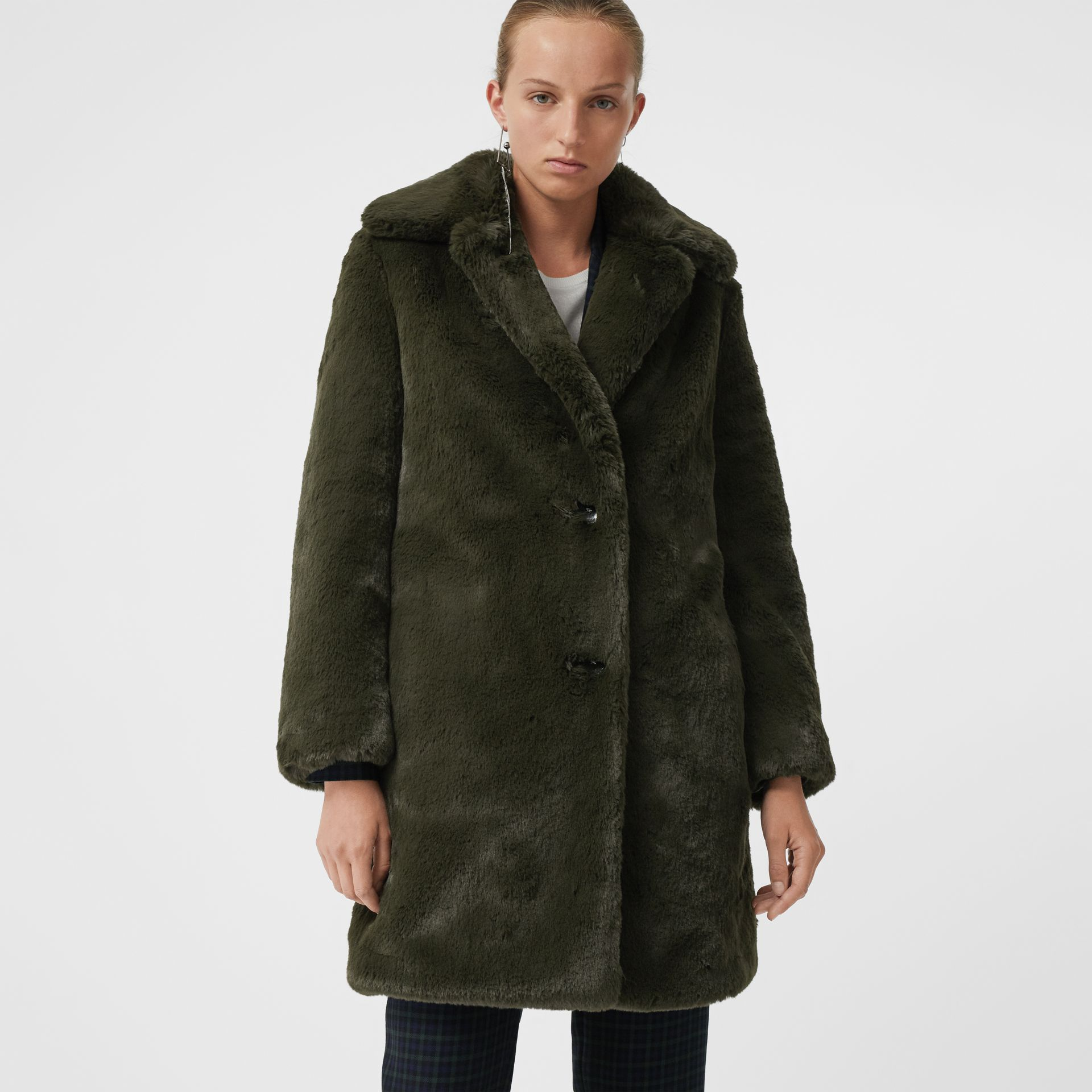 Faux Fur Single-breasted Coat in Dark Forest Green - Women | Burberry Australia - gallery image 4