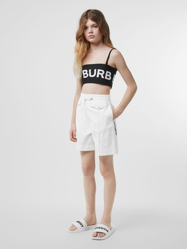 Logo Print Cotton Tailored Shorts in Optic White | Burberry - cell image 2