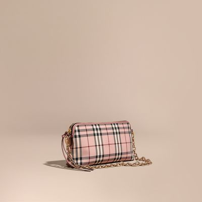 b12c4231dd66 Burberry Overdyed Horseferry Check And Leather Clutch Bag In Ash Rose  Dusty  Pink