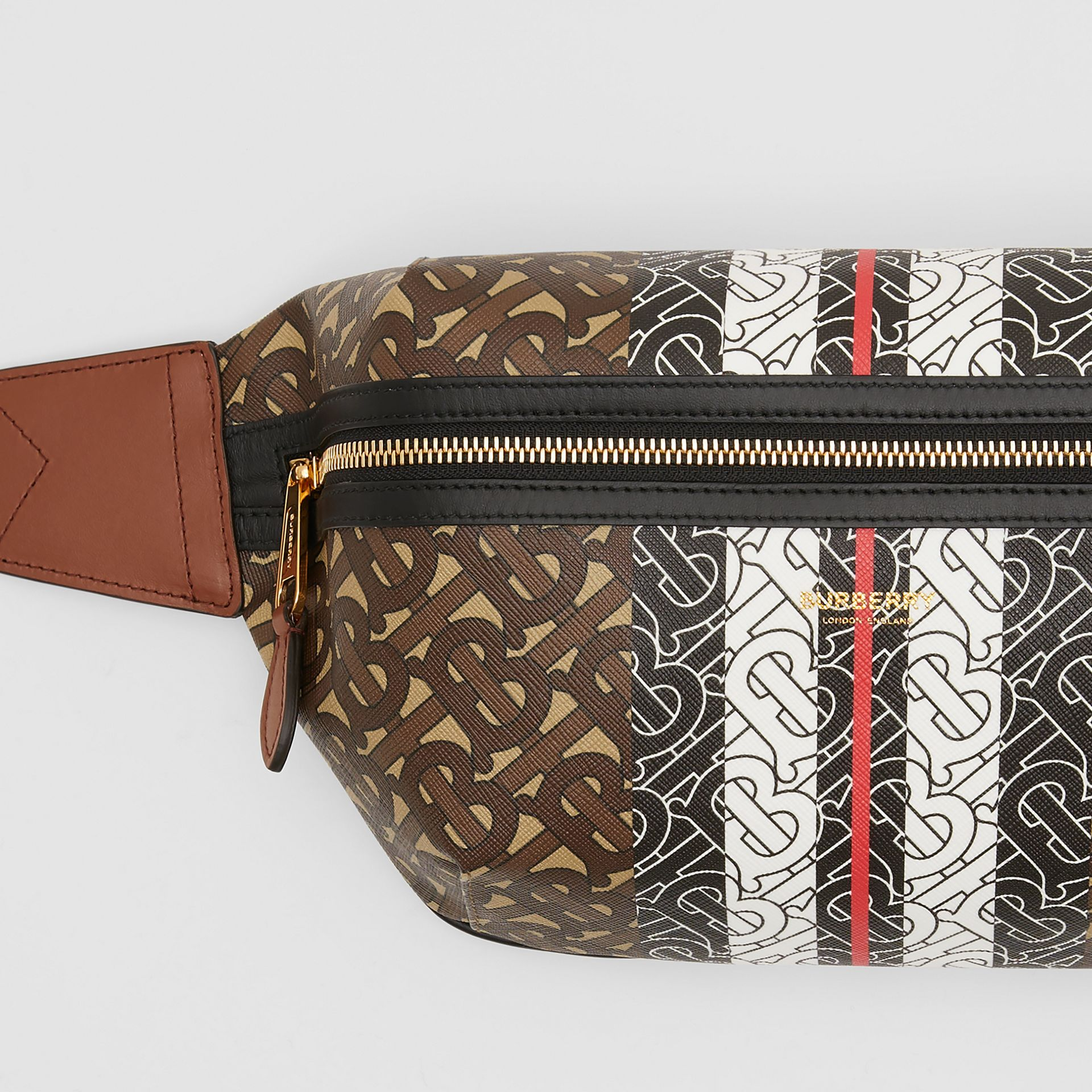 Medium Monogram Stripe E-canvas Bum Bag in Brown | Burberry Canada - gallery image 1