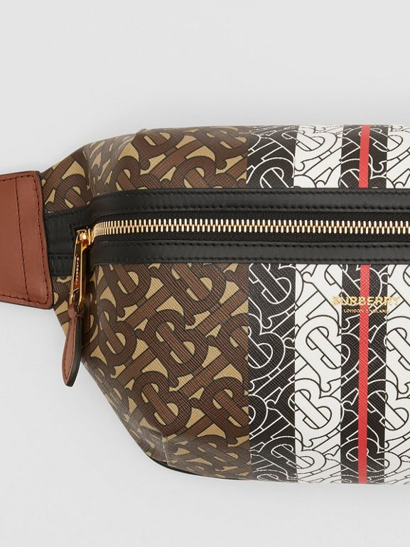 Medium Monogram Stripe E-canvas Bum Bag in Brown | Burberry United Kingdom - cell image 1