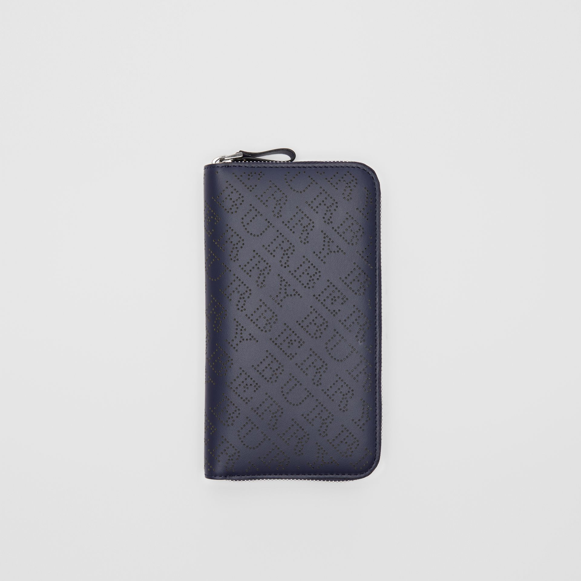 Perforated Leather Ziparound Wallet in Navy - Women | Burberry - gallery image 0
