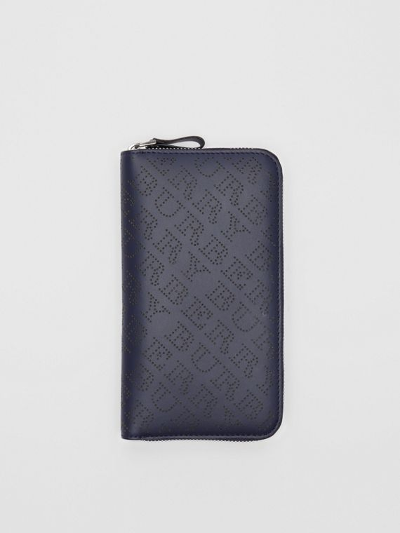Perforated Leather Ziparound Wallet in Navy