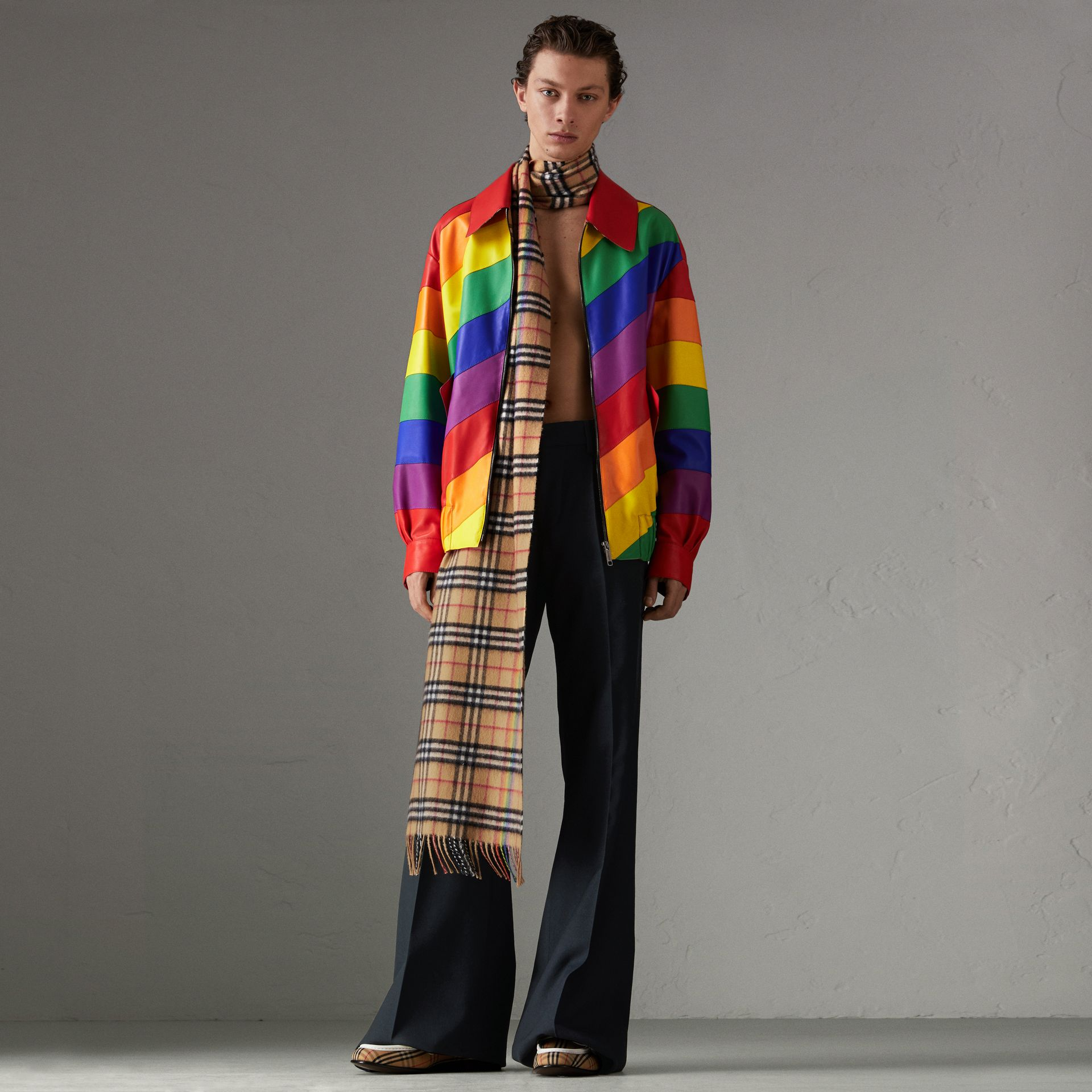 Rainbow Nappa Leather Harrington Jacket | Burberry - gallery image 0