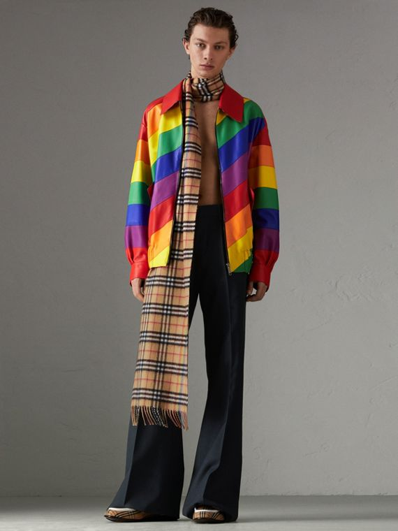 Rainbow Nappa Leather Harrington Jacket