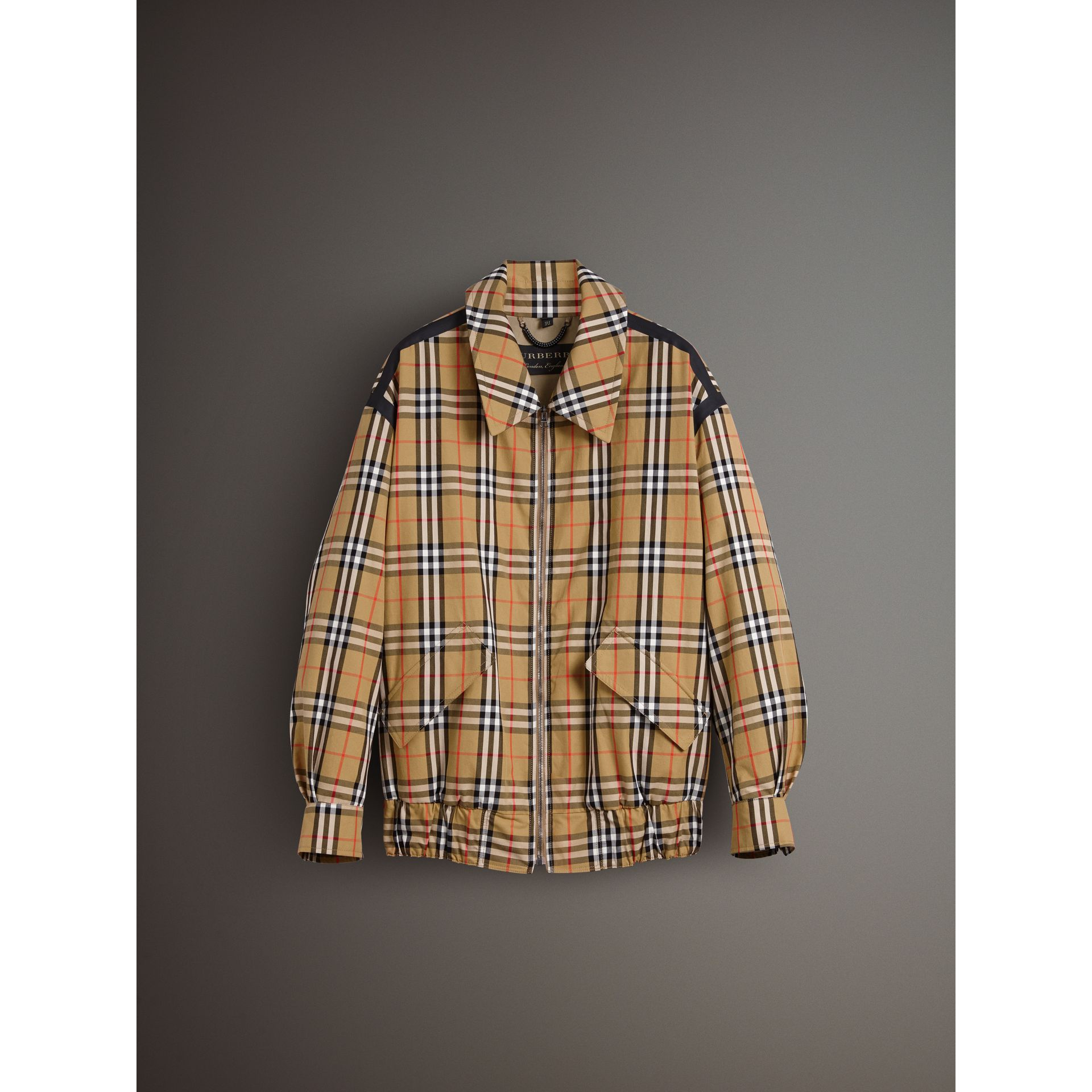 Vintage Check Gabardine Harrington Jacket in Antique Yellow - Men | Burberry United Kingdom - gallery image 3