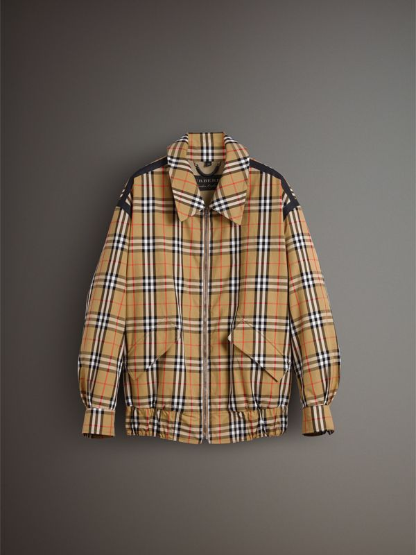 Vintage Check Gabardine Harrington Jacket in Antique Yellow - Men | Burberry United Kingdom - cell image 3
