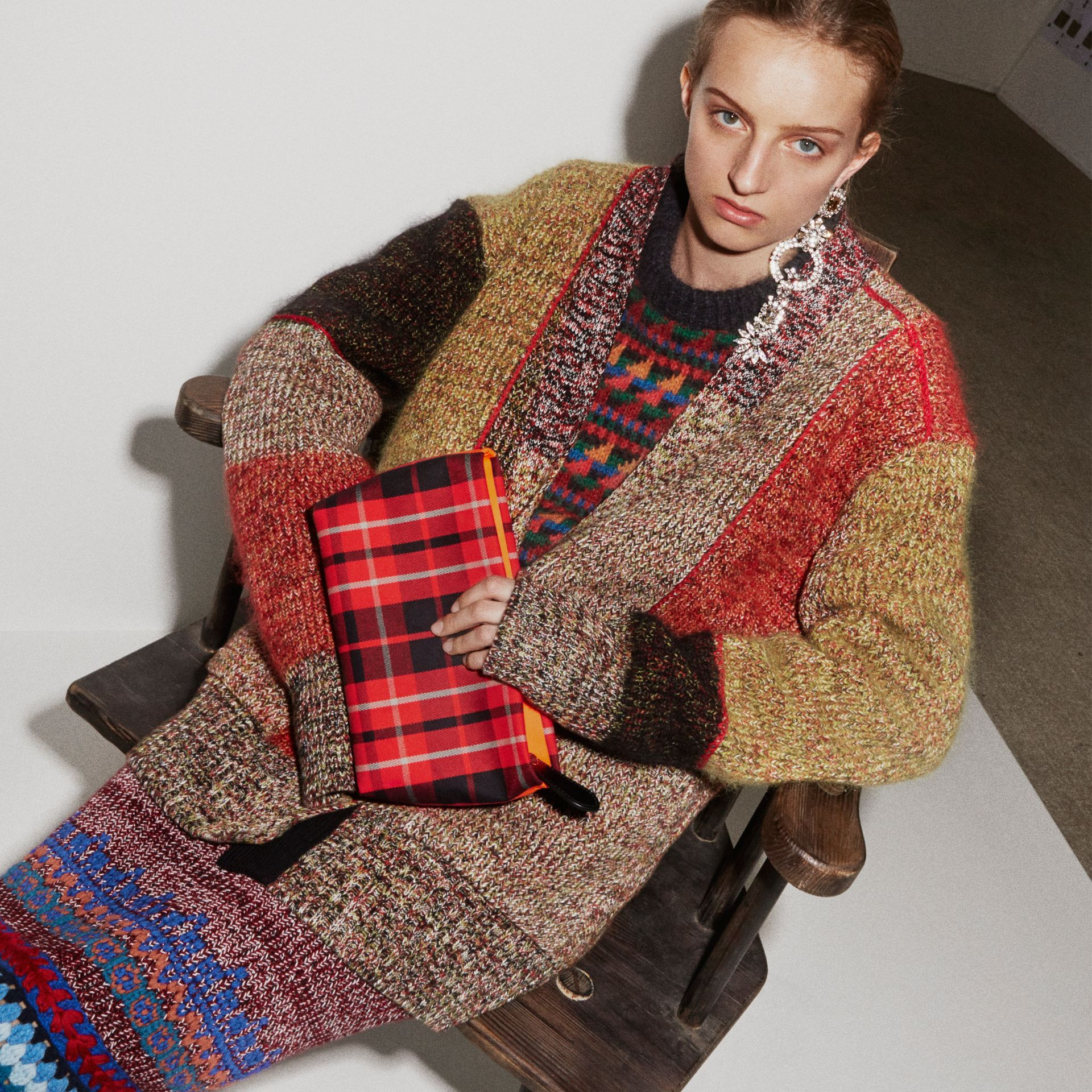 Wool Linen Mohair Blend Mouliné Oversized Cardigan in Multicolour - Women | Burberry - gallery image 2