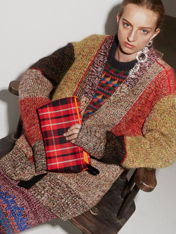Wool Linen Mohair Blend Mouliné Oversized Cardigan in Multicolour - Women | Burberry Singapore - cell image 2