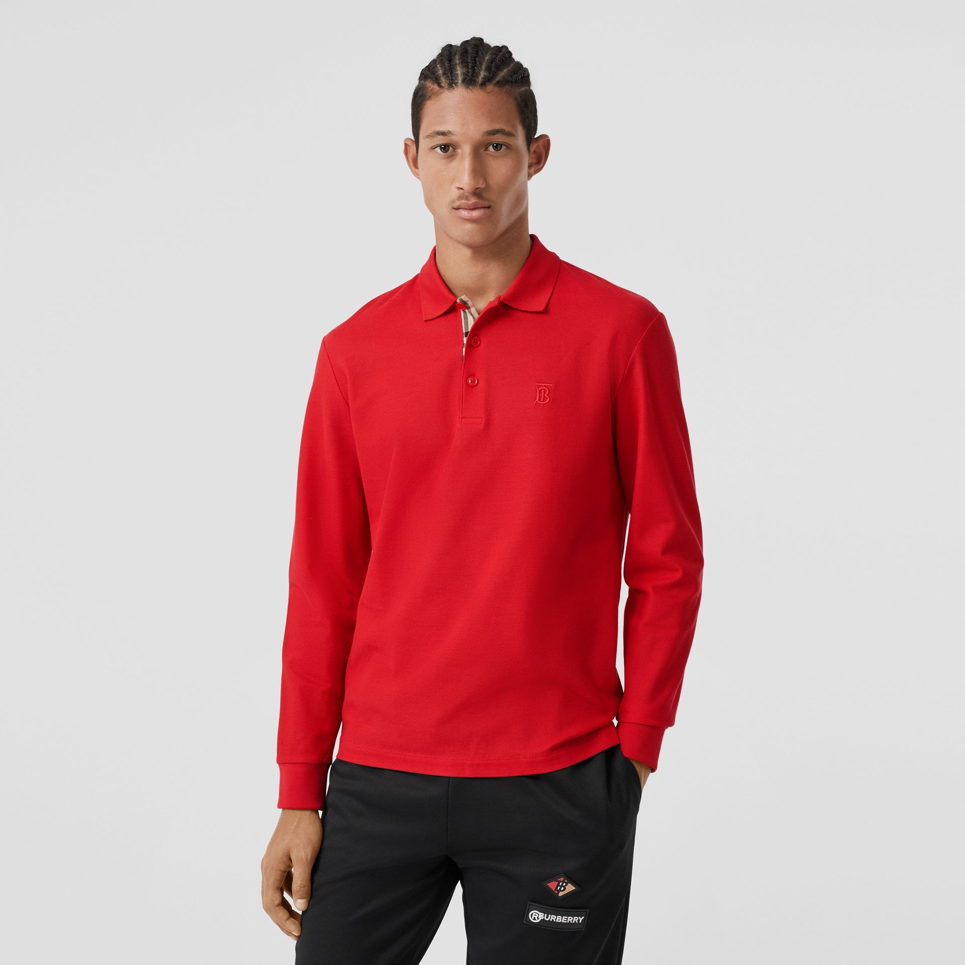 Long-sleeve Monogram Motif Cotton Piqué Polo Shirt in Bright Red - Men | Burberry - gallery image 4