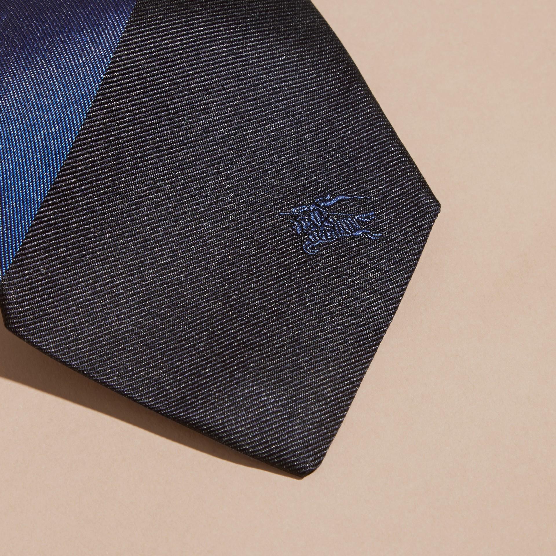 Navy Slim Cut Striped Jacquard Silk Tie Navy - gallery image 2