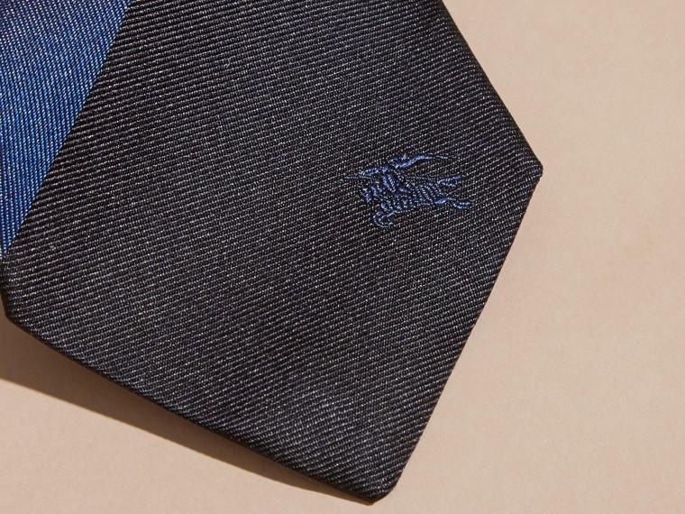 Navy Slim Cut Striped Jacquard Silk Tie Navy - cell image 1