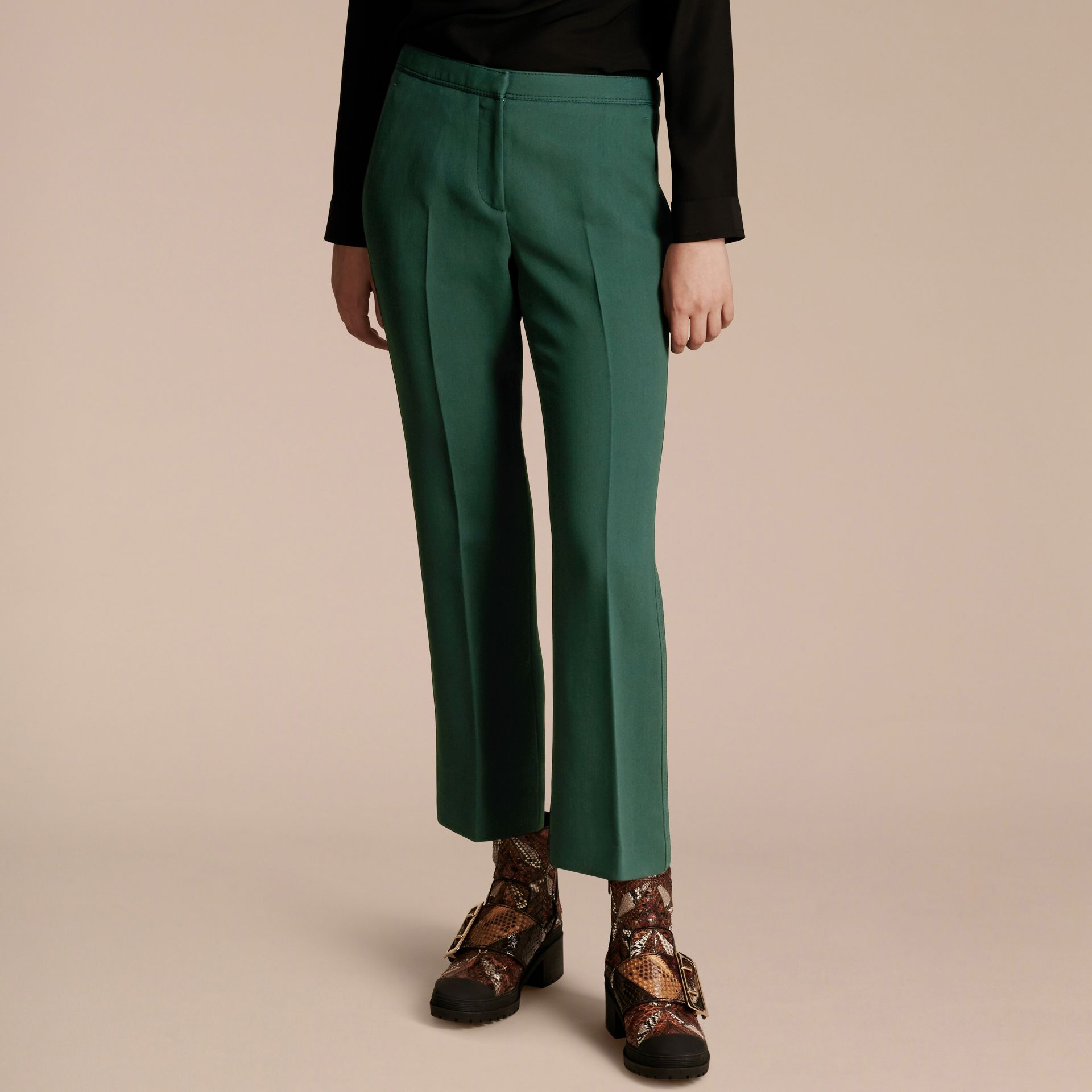 Deep green Cropped Tailored Trousers Deep Green - gallery image 5