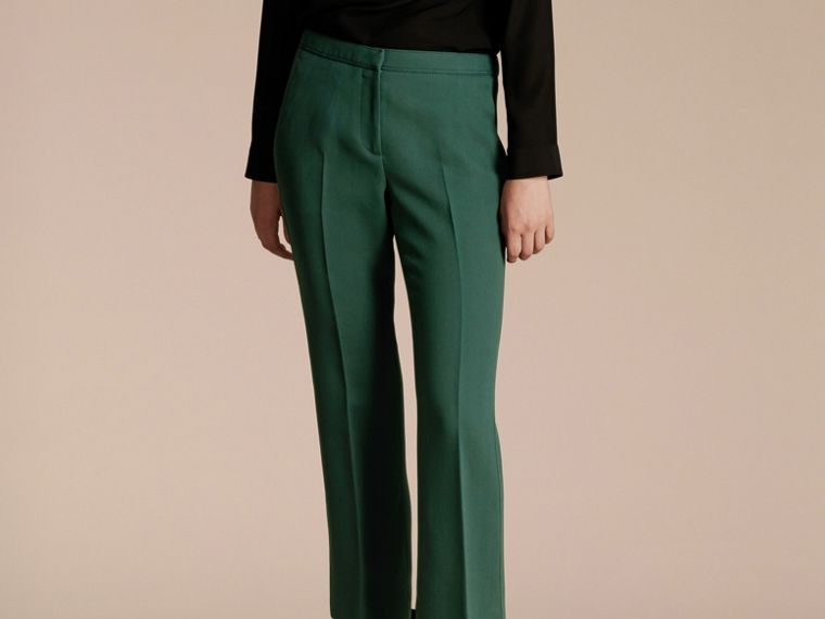 Deep green Cropped Tailored Trousers Deep Green - cell image 4
