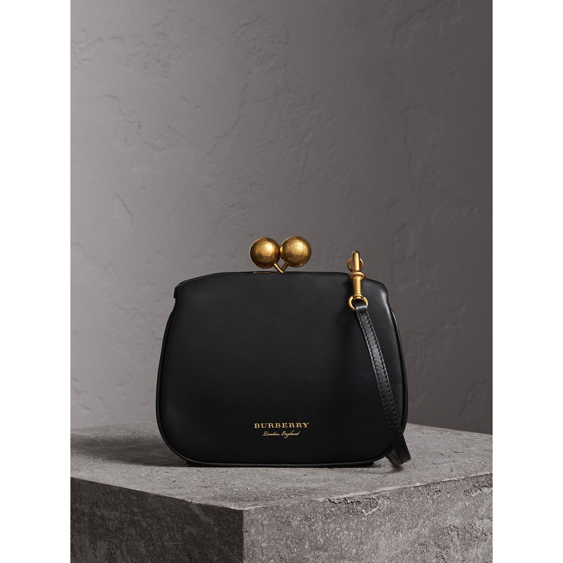 Small Leather Metal Frame Clutch Bag in Black - Women | Burberry - gallery image 1