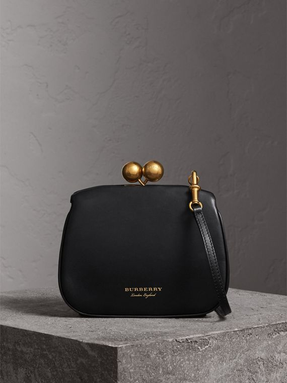 Small Leather Frame Bag in Black