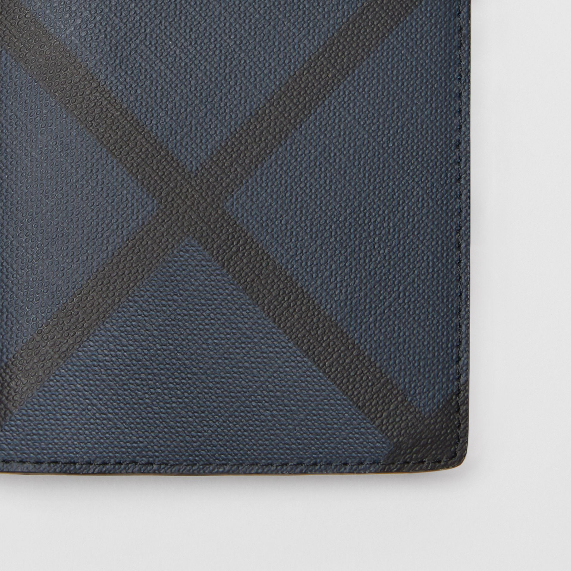 London Check and Leather Continental Wallet in Navy/black - Men | Burberry Canada - gallery image 1