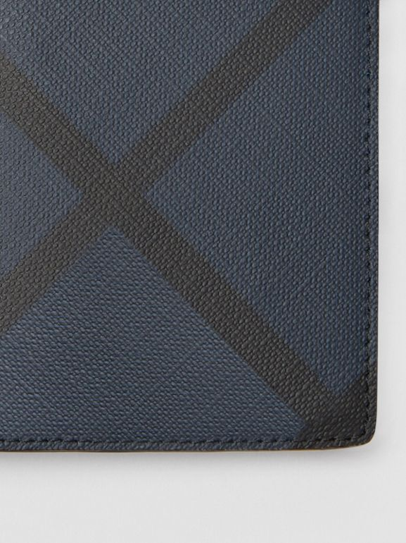 London Check and Leather Continental Wallet in Navy/black - Men | Burberry United Kingdom - cell image 1
