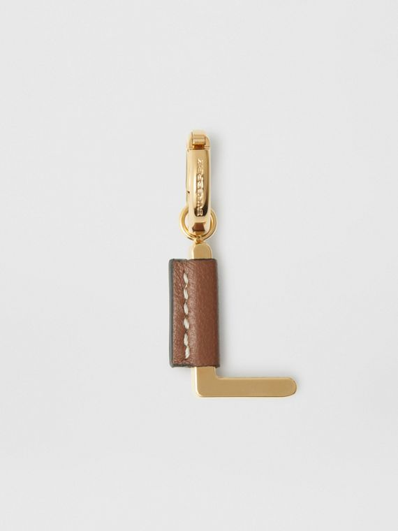 Leather-wrapped 'L' Alphabet Charm in Light Gold/tan