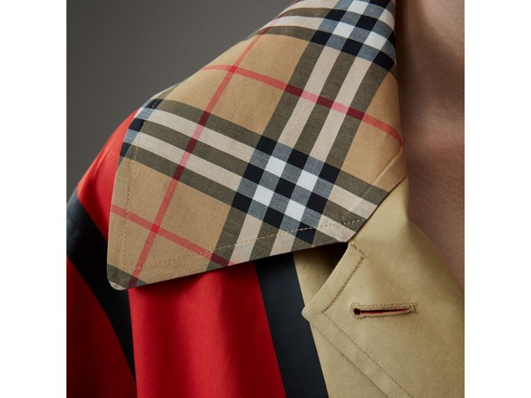 Bonded Cotton Oversized Seam-sealed Car Coat in Red/beige - Women | Burberry United Kingdom - cell image 4