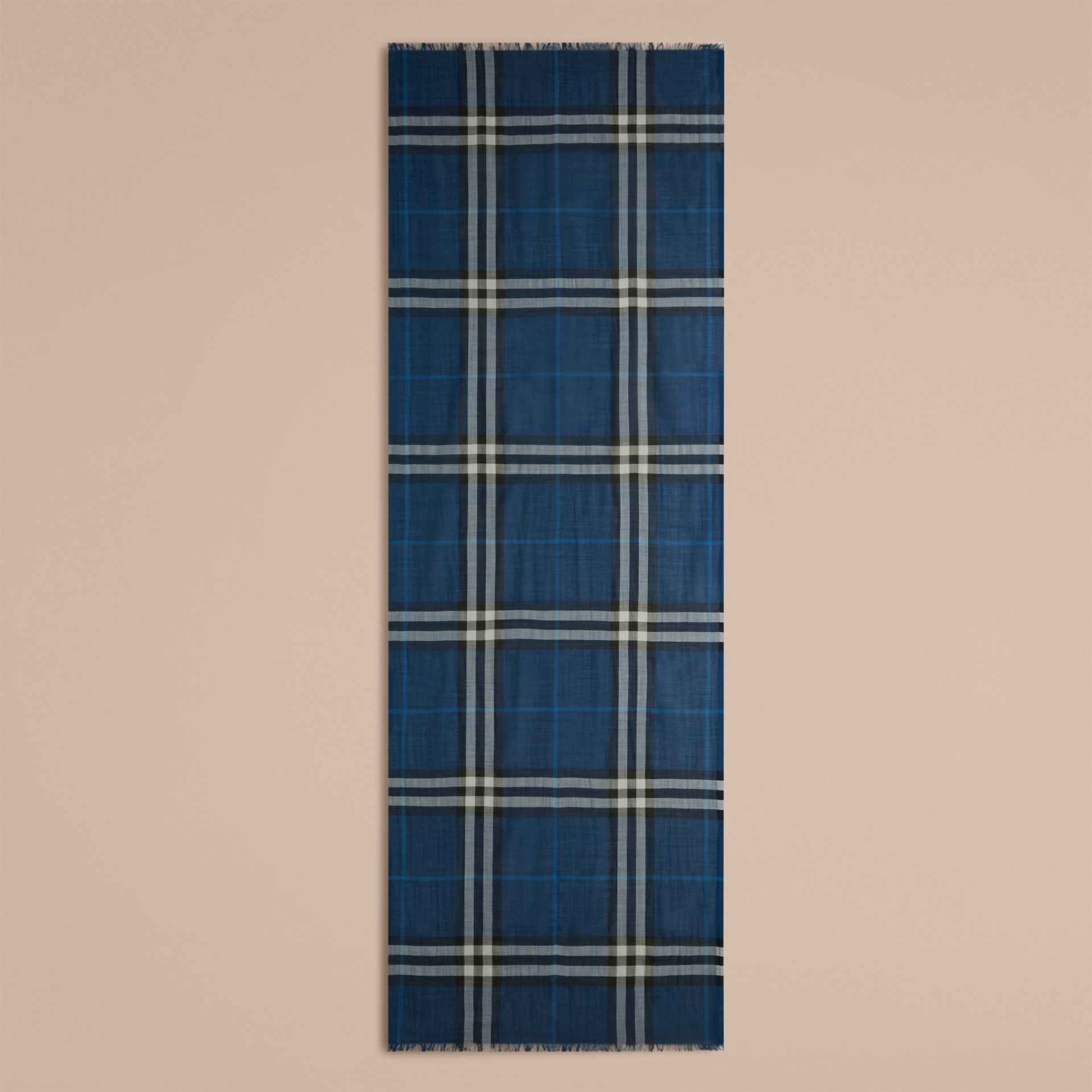 Marine blue Lightweight Check Wool and Silk Scarf Marine Blue - gallery image 5