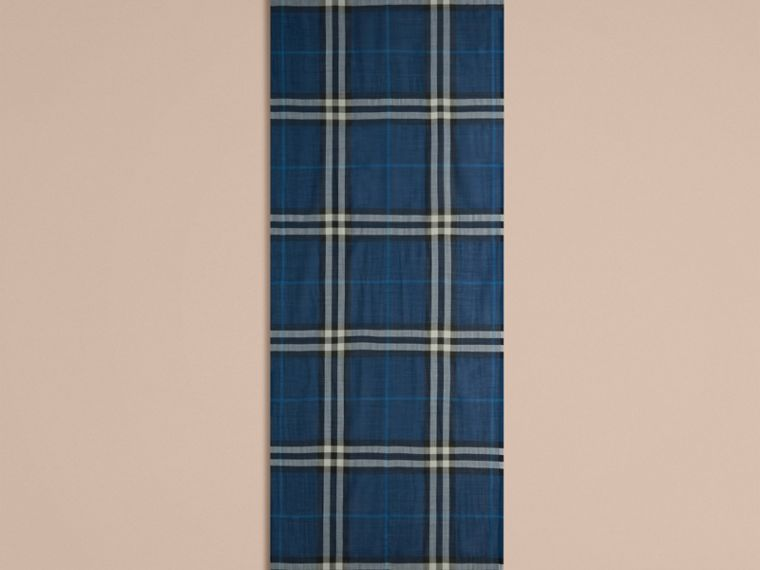 Marine blue Lightweight Check Wool and Silk Scarf Marine Blue - cell image 4