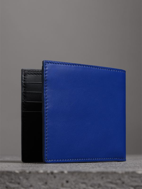 Graffiti Print Leather International Bifold Wallet in Denim Blue - Men | Burberry - cell image 2