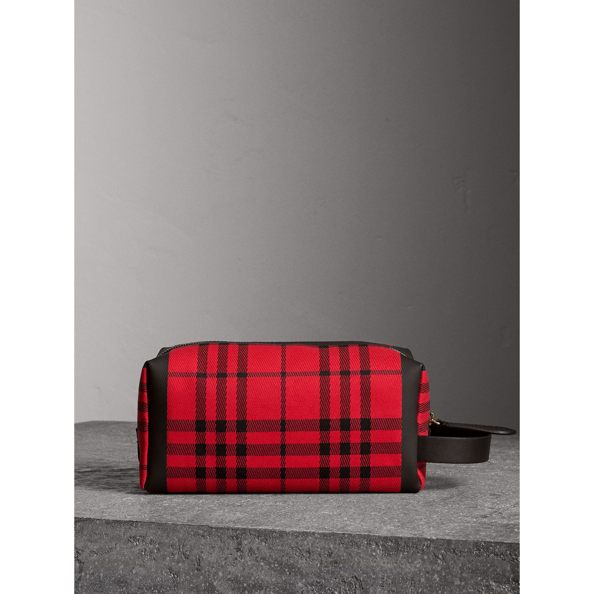 Tartan Cotton Pouch in Military Red | Burberry Singapore - gallery image 7