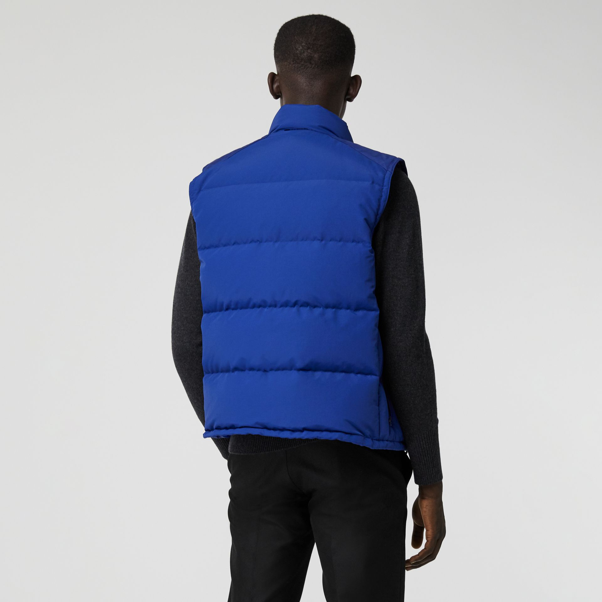 Embroidered Archive Logo Down-filled Gilet in Bright Blue - Men | Burberry United Kingdom - gallery image 2
