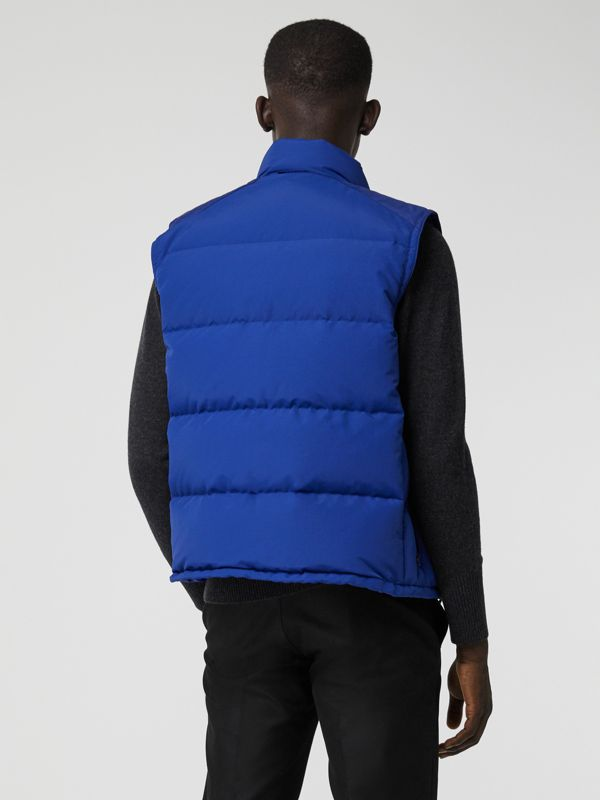 Embroidered Archive Logo Down-filled Gilet in Bright Blue - Men | Burberry United States - cell image 2