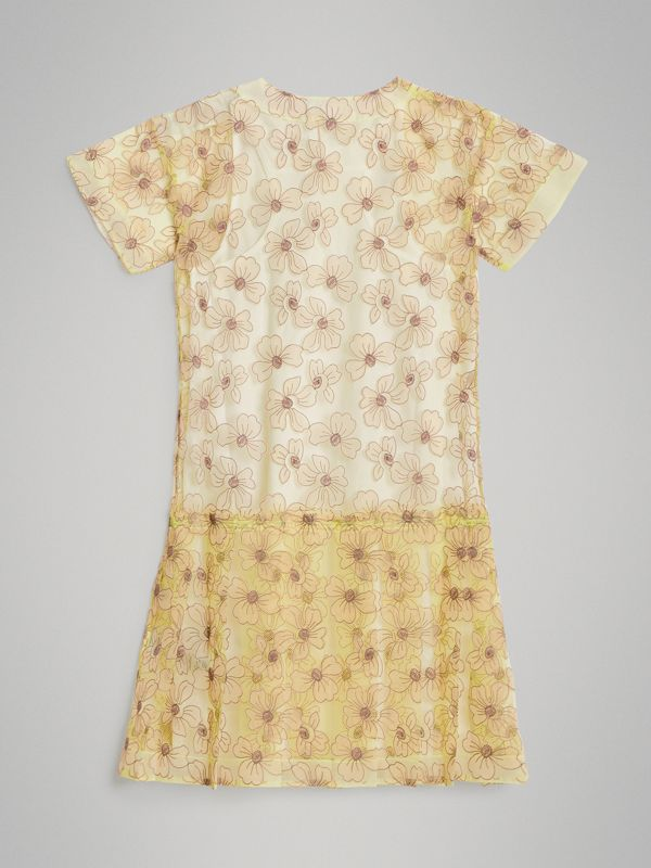Floral Appliqué Tulle Dress in Citrus Yellow | Burberry United States - cell image 3