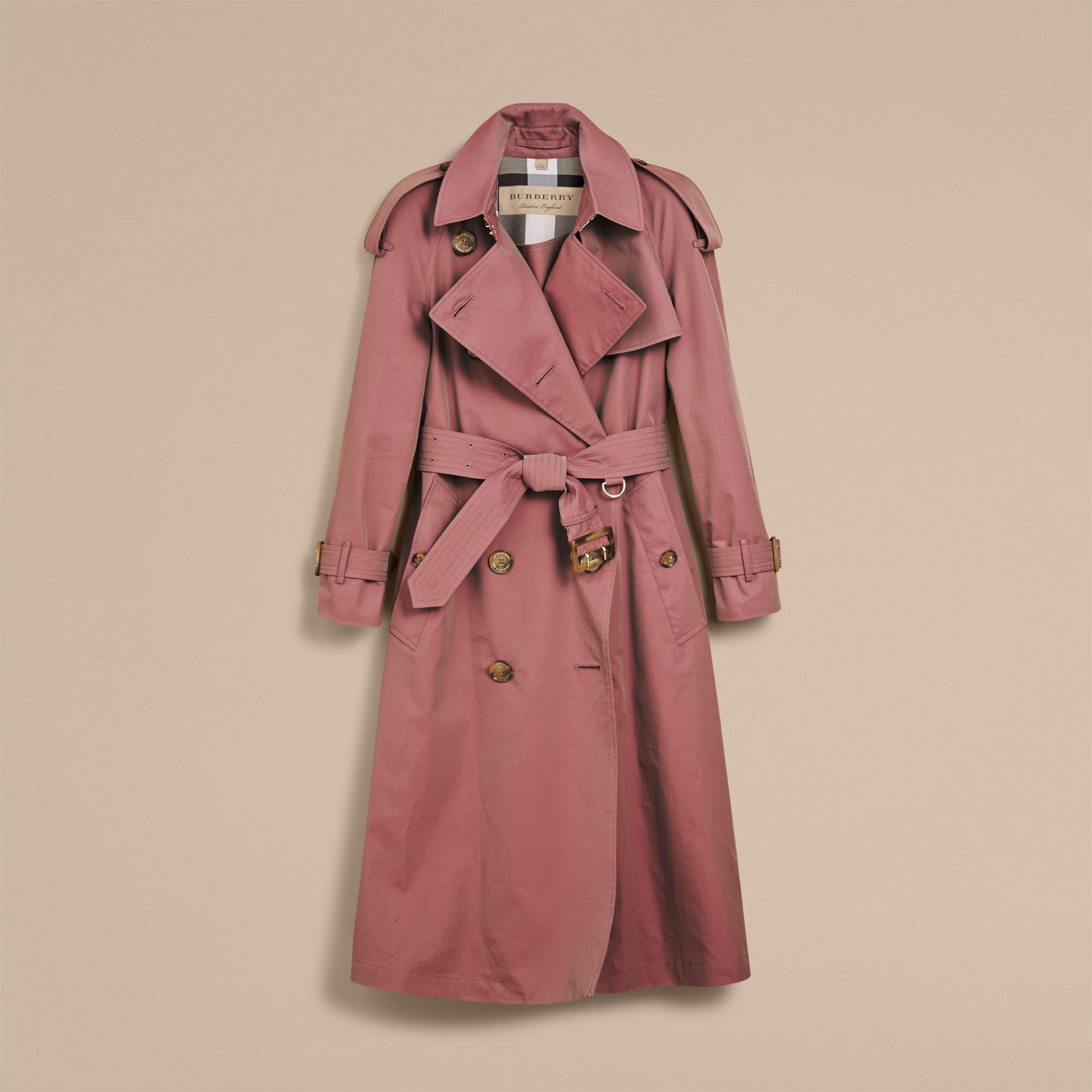 Tropical Gabardine Trench Coat in Antique Rose - Women | Burberry Singapore - gallery image 4