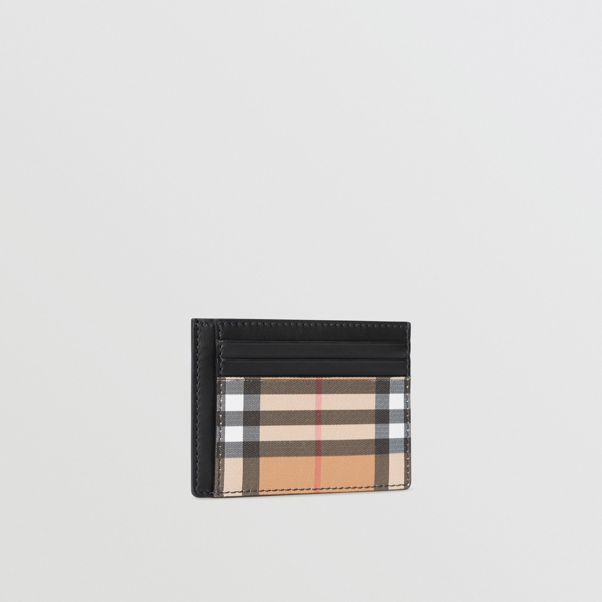 Vintage Check Leather Card Case in Black - Men | Burberry - gallery image 4