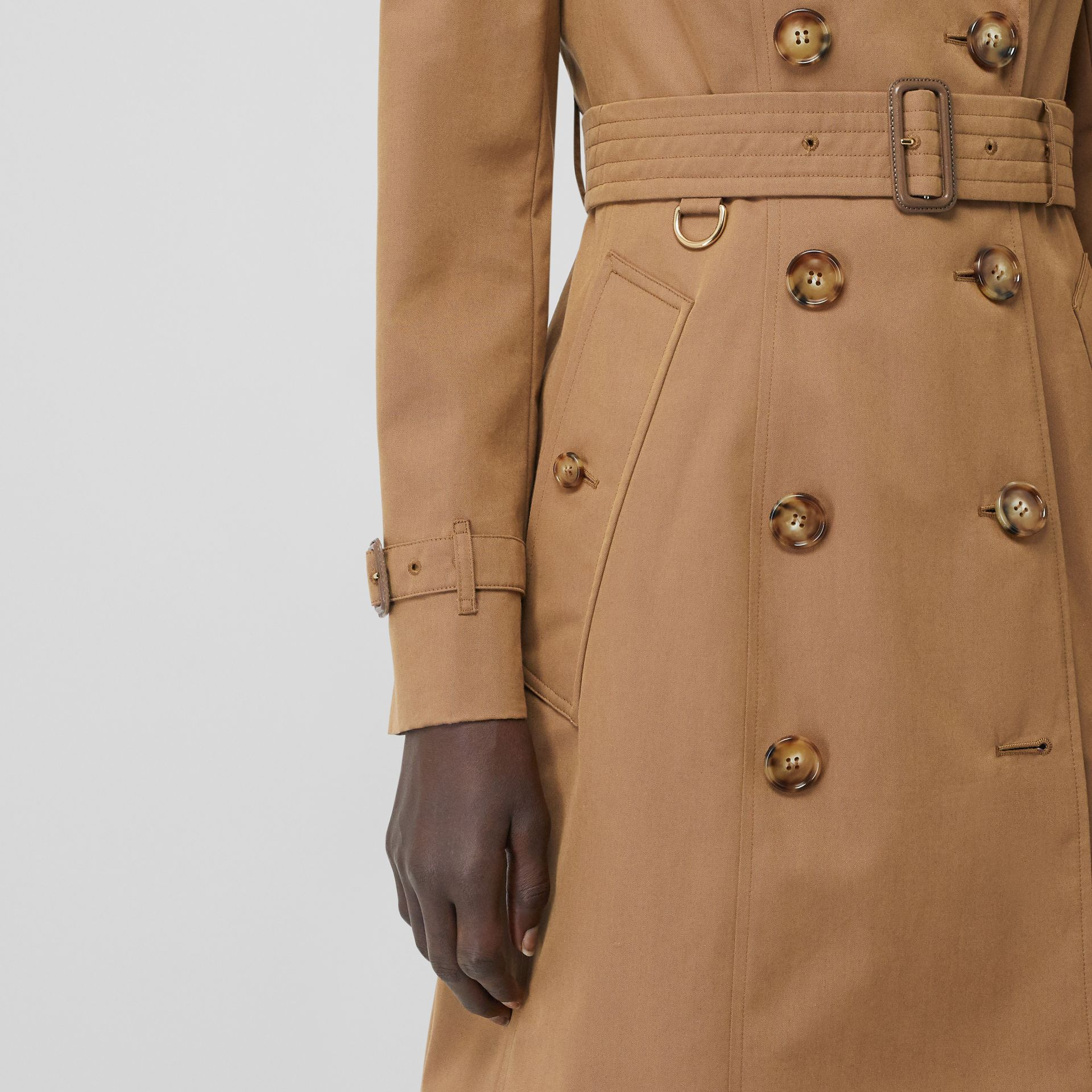 Cotton Gabardine Trench Coat in Warm Taupe - Women | Burberry - gallery image 4