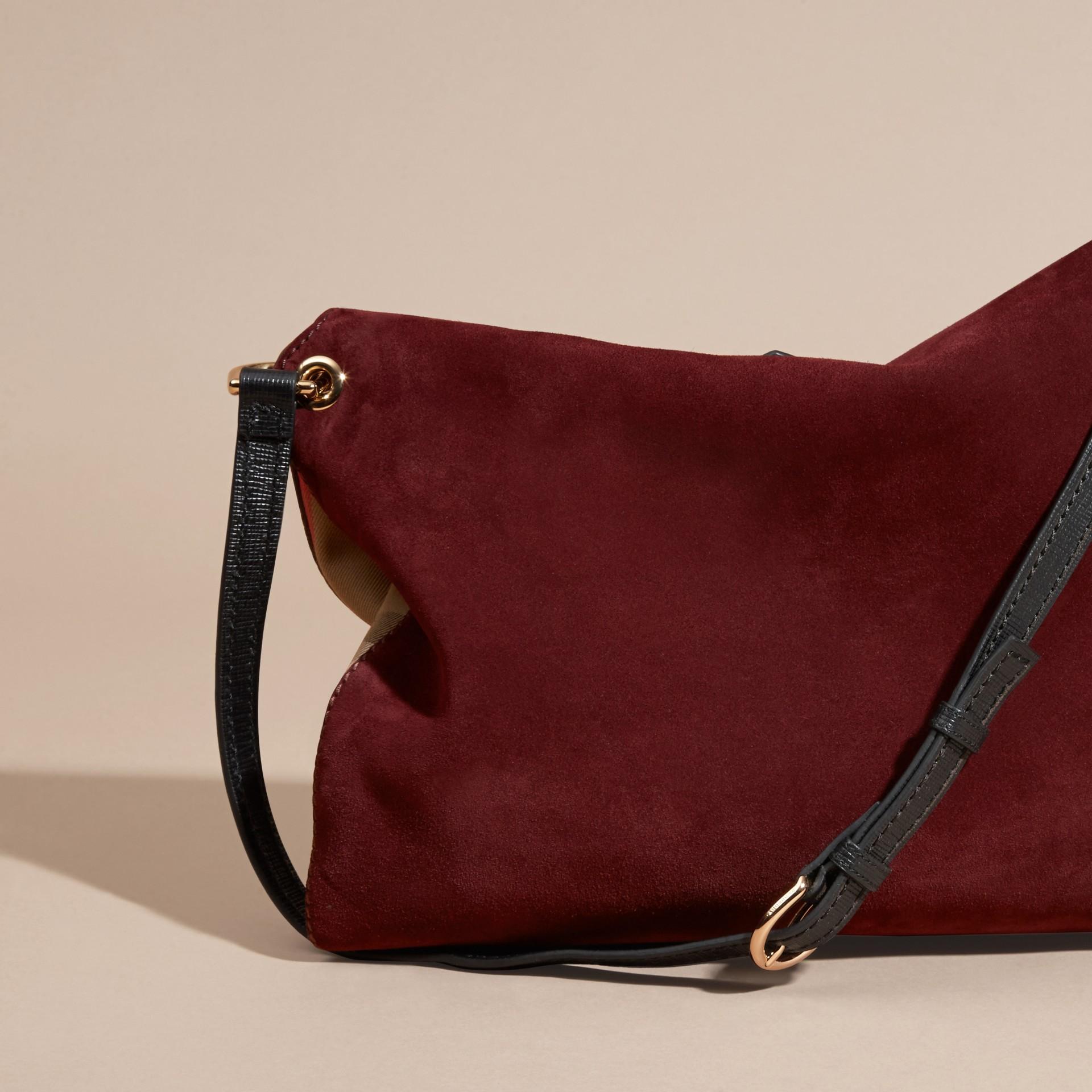 Rojo caoba Bolso de hombro en ante inglés y checks House - imagen de la galería 4